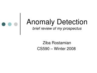 Anomaly Detection brief review of my prospectus