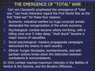 "THE EMERGENCE OF ""TOTAL"" WAR"