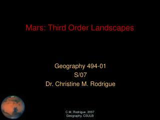 Mars: Third Order Landscapes