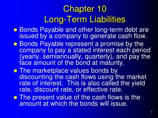 Chapter 10 Long-Term Liabilities