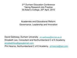 Academies and Educational Reform: Governance, Leadership and Innovation