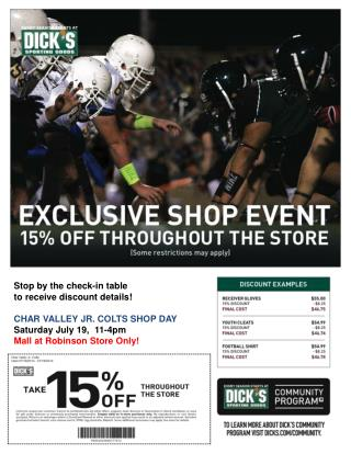 Stop by the check-in table  to receive discount details! Char Valley Jr. Colts  Shop Day