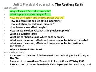 Unit 1 Physical Geography:  The Restless Earth