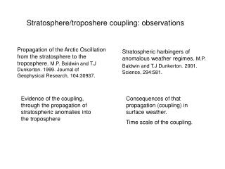 Stratosphere/troposhere coupling: observations