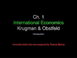 Ch. 1 International Economics Krugman & Obstfeld