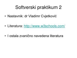 Softverski praktikum 2