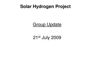 Solar Hydrogen Project