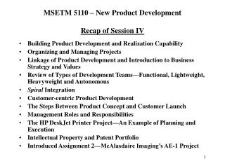 MSETM 5110 – New Product Development Recap of Session IV