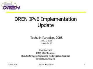 DREN IPv6 Implementation Update