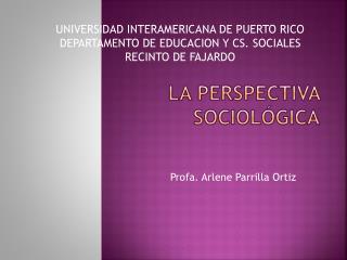 La Perspectiva Sociológica