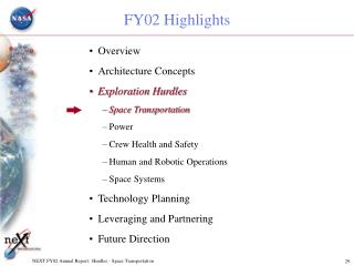 NEXT FY02 Annual Report:  Hurdles - Space Transportation