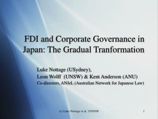 FDI and Corporate Governance in Japan: The Gradual Tranformation