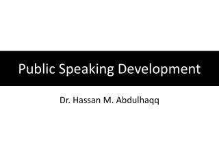 Public Speaking Development
