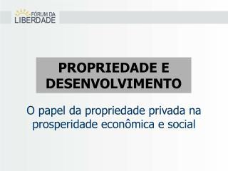 O papel da propriedade privada na prosperidade econômica e social