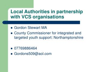 Local Authorities in partnership with VCS organisations