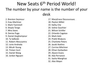 New Seats  6 th  Period World! The number by your name is the number of your desk