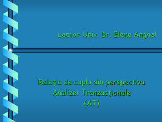 Lector Univ. Dr. Elena Anghel