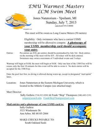 EMU Warmest  Masters  LCM  Swim Meet