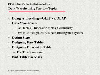 Data Warehousing Part 1—Topics