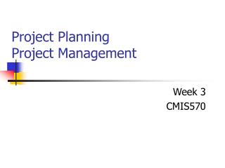 Project Planning Project Management