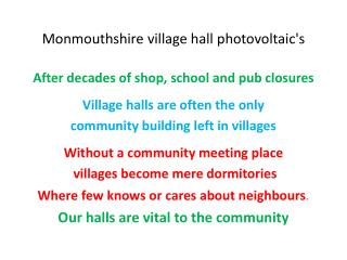 Monmouthshire village hall photovoltaic's