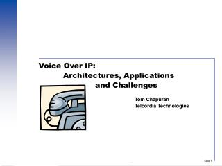 Voice Over IP:            Architectures, Applications                        and Challenges