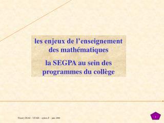 les enjeux de l'enseignement des mathématiques la SEGPA au sein des programmes du collège