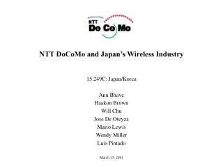 NTT DoCoMo and Japan's Wireless Industry
