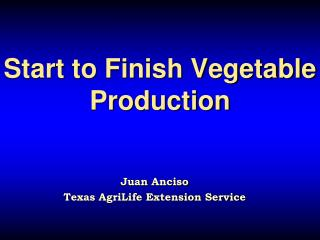 Start to Finish Vegetable Production