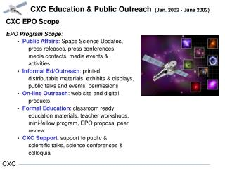 CXC EPO Scope EPO Program Scope : Public Affairs : Space Science Updates,