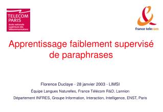 Apprentissage faiblement supervisé de paraphrases