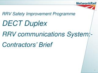 RRV Safety Improvement Programme DECT Duplex  RRV communications System:- Contractors' Brief