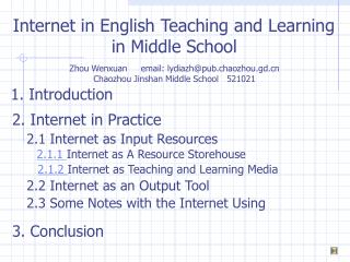 Internet in English Teaching and Learning  in Middle School