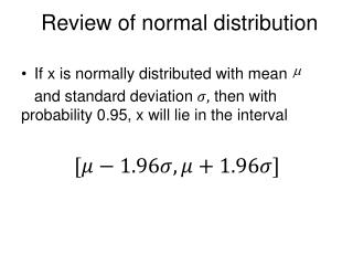 Review of normal distribution