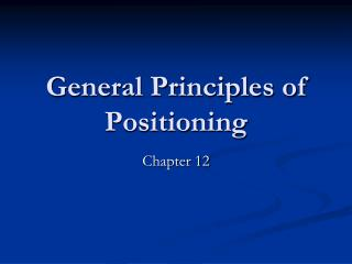 General Principles of Positioning