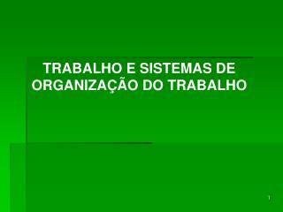 TRABALHO E SISTEMAS DE ORGANIZAÇÃO DO TRABALHO