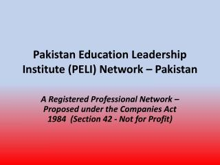 Pakistan Education Leadership Institute (PELI) Network � Pakistan