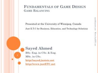 Fundamentals of Game Design Game Balancing