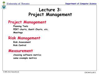 Lecture 3: Project Management