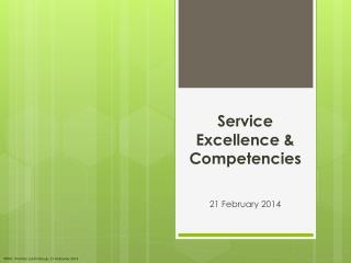 Service Excellence & Competencies