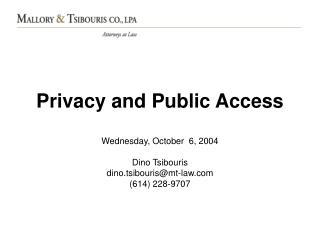 Privacy and Public Access