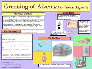 Greening of Aiken Educational  Aspects