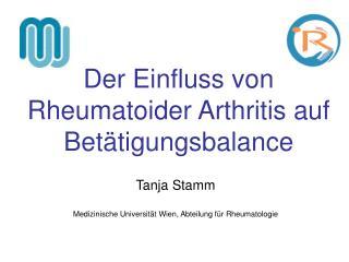Der Einfluss von Rheumatoider Arthritis auf Betätigungsbalance