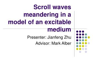 Scroll waves meandering in a model of an excitable medium
