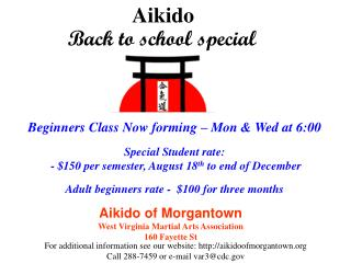 Aikido of Morgantown West Virginia Martial Arts Association 160 Fayette St