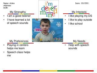 My Needs Help with speech sounds