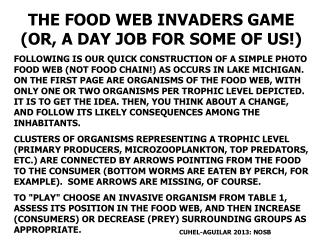 THE FOOD WEB INVADERS GAME (OR, A DAY JOB FOR SOME OF US!)