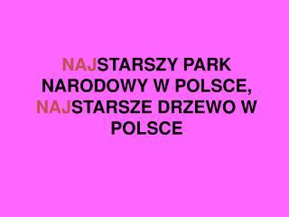 NAJ STARSZY PARK NARODOWY W POLSCE, NAJ STARSZE DRZEWO W POLSCE