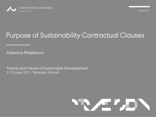 Purpose of Sustainability Contractual Clauses