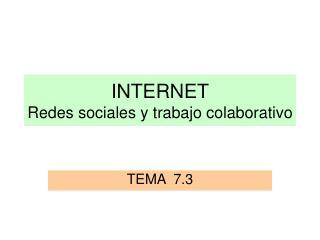 INTERNET  Redes sociales y trabajo colaborativo